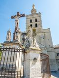 Avignon cathedral next to Papal palace royalty free stock image