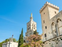 Avignon cathedral next to Papal palace royalty free stock photos