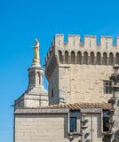 Avignon cathedral from Papal palace. Avignon cathedral Cathedral of Our Lady of Doms view from Papal palace Palais des Papes under clear blue sky in Avignon stock images