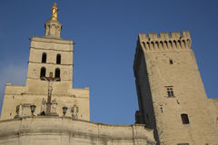 Avignon Cathedral and Palais des Papes Palace Stock Images