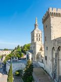 Avignon cathedral from Papal palace. Avignon cathedral Cathedral of Our Lady of Doms view from Papal palace Palais des Papes under clear blue sky in Avignon royalty free stock photo
