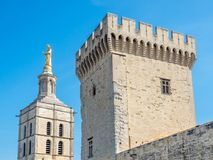 Avignon cathedral from Papal palace. Avignon cathedral Cathedral of Our Lady of Doms view from Papal palace Palais des Papes under clear blue sky in Avignon stock photography