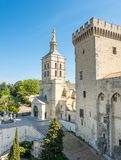 Avignon cathedral from Papal palace. Avignon cathedral Cathedral of Our Lady of Doms view from Papal palace Palais des Papes under clear blue sky in Avignon royalty free stock photos