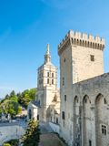 Avignon cathedral from Papal palace. Avignon cathedral Cathedral of Our Lady of Doms view from Papal palace Palais des Papes under clear blue sky in Avignon royalty free stock image
