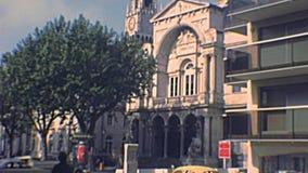 Avignon City Hall. AVIGNON, FRANCE - CIRCA 1970: Avignon City Hall, Hotel de Ville d`Avignon in Place de l`Horloge square. Archival of Avignon town of France in stock video