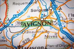 Avignon City on a Road Map Stock Photos
