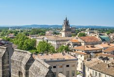 Avignon city view from Papal palace. View of Avignon city from roof top of Papal palace Palais des Papes under clear blue sky in Avignon, France royalty free stock photo