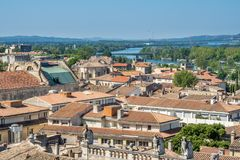 Avignon city view from Papal palace. View of Avignon city from roof top of Papal palace Palais des Papes under clear blue sky in Avignon, France royalty free stock photos