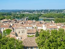 Avignon city view from Papal palace. View of Avignon city from roof top of Papal palace Palais des Papes under clear blue sky in Avignon, France stock image