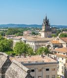 Avignon city view from Papal palace. View of Avignon city from roof top of Papal palace Palais des Papes under clear blue sky in Avignon, France stock photo