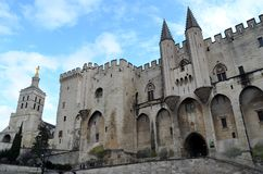 Avignon famous pope palace. View of the famous palace where pope lived 14th century. It is the biggest gothic monument of the medium ages stock image