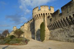 Avignon famous walls. View of the famous wall in avignon france. They protect the city from flooding of the rhone during medium ages stock images