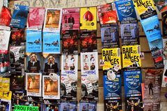 Festival of Avignon. AVIGNON, FRANCE – July 08, 2017: Plenty of playbills on a wall during famous theatre festival from July 4 to 27 2014 in Avignon, south of Royalty Free Stock Photo
