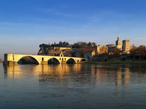 Avignon, France. The Popes' palace and the St.-Benezet bridge in Avignon, France view from the Bartelasse Island Stock Photos