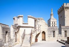 Architectures and monuments of Avignon. Avignon, France - August 25, 2016:  Architectures of  the top of the Palace of the Popes Stock Images