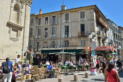 Avignon. FRANCE - JUL 12, 2014: Street scene in historical centre of .  is a famous and very popular among tourists city in Provence in south of France Stock Images
