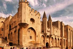 AVIGNON, FRANCE - JULY 1, 2014: Pope palace in Avignon which bec Stock Photos