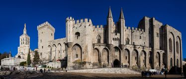 The Papal palace one of the biggest gothic buildings in Europe at Avignon. AVIGNON, FRANCE - MARCH, 2018: The Papal palace one of the biggest gothic buildings in royalty free stock photography