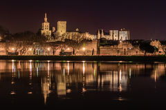 Avignon at night. View on the historical centre of Avignon at night , France Stock Photos
