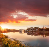 Avignon old bridge during sunset in Provence, France Stock Photo