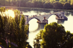 Avignon Pont Saint Benezet. View of the Pont Saint Benezet, also known as the Bridge of Avignon, on the Rhone river with a tilt and shift effect Stock Photos