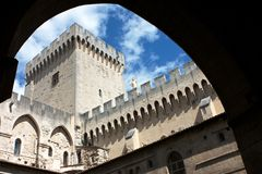 Avignon Pope Castle courtyard Stock Image