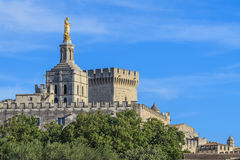 Avignon Popes Palace, France. Avignon - View on Popes Palace and church Notre Dames des Domes, Provence, France Royalty Free Stock Photos