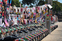 Avignon. Posters and Bicycles in Avignon during the Summer Festival Stock Photos