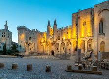 Avignon. Provence. The central facade of the papal palace at dawn. The building of the famous medieval papal palace at dawn. Avignon. France. Provence stock photos