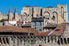 Avignon. Provence. The famous papal palace on a sunny day. The building of the famous medieval papal palace on a sunny day. Avignon. France stock photo