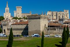 Avignon. Provence. The famous papal palace on a sunny day. The building of the famous medieval papal palace on a sunny day. Avignon. France stock photos