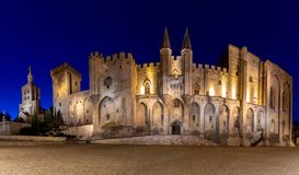 Avignon. Provence. Panorama of the papal palace at night. Panorama of the building of the famous medieval papal palace at dawn. Avignon. France royalty free stock photo