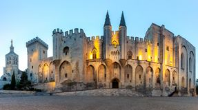 Avignon. Provence. Panorama of the papal palace at night. Panorama of the building of the famous medieval papal palace at dawn. Avignon. France stock photo