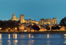 Avignon skyline. Riverside view of The Papal Palace at night, one of the largest and most important medieval Gothic buildings in Europe. Provence-Alpes-Cote d' royalty free stock images