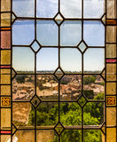Avignon Stained Glass. Looking over Avignon, France through a stained glass window from inside the Palais des Papes Stock Photos