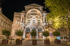 Avignon theatre and opera by night stock photography