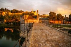Avignone al tramonto, Francia Immagini Stock Libere da Diritti
