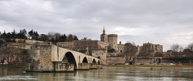 Avignons bridge, Pont d'Avignon. The Pont Saint-Benezet, also known as the Pont d'Avignon , is a famous medieval bridge in the town of Avignon, in southern Royalty Free Stock Photos