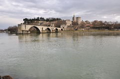 Avignons bridge, Pont d'Avignon. The Pont Saint-Benezet, also known as the Pont d'Avignon , is a famous medieval bridge in the town of Avignon, in southern Stock Photos