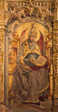 AVILA, ΙΣΠΑΝΙΑ, ΑΠΡΙΛΙΟΣ - 18, 2016: Η ζωγραφική του ST Augustine ο γιατρός της εκκλησίας στον κύριο βωμό Catedral de Cristo Sa Στοκ Φωτογραφίες