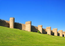 Avila. Old town and castle walls in Spain Royalty Free Stock Image