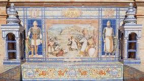 Avila. Andalusian ceramic Poster depicting historic moments of the city of Avila Royalty Free Stock Photos