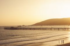 Sunset at Avila Beach with Pier stock images