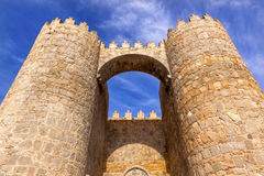 Avila Castle Town Walls Arch Gate Cityscape Castile Spain. Castle Town Walls Arch Gate Avila Castile Spain.  Described as the most 16th century town in Spain Royalty Free Stock Images
