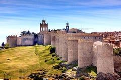 Avila Castle Walls Ancient Medieval City Cityscape Castile Spain Stock Images