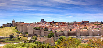 Avila Castle Walls Ancient Medieval City Cityscape Castile Spain Stock Images