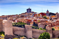 Avila Castle Walls Ancient Medieval City Cityscape Castile Spain Stock Image