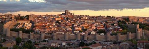 Avila, città del patrimonio mondiale. panorama Fotografia Stock Libera da Diritti