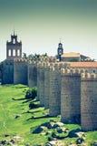 Avila. Detailed view of Avila walls, also known as murallas de avila Stock Photos