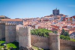 Avila. Detailed view of Avila walls, also known as murallas de a Stock Image